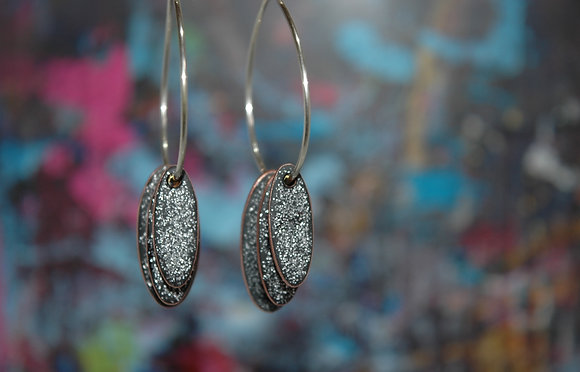 Hoops and Drops Earrings - Black Glitter