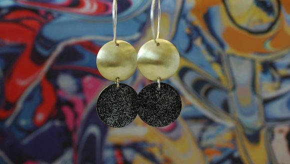 Domed Dots - Black Glitter