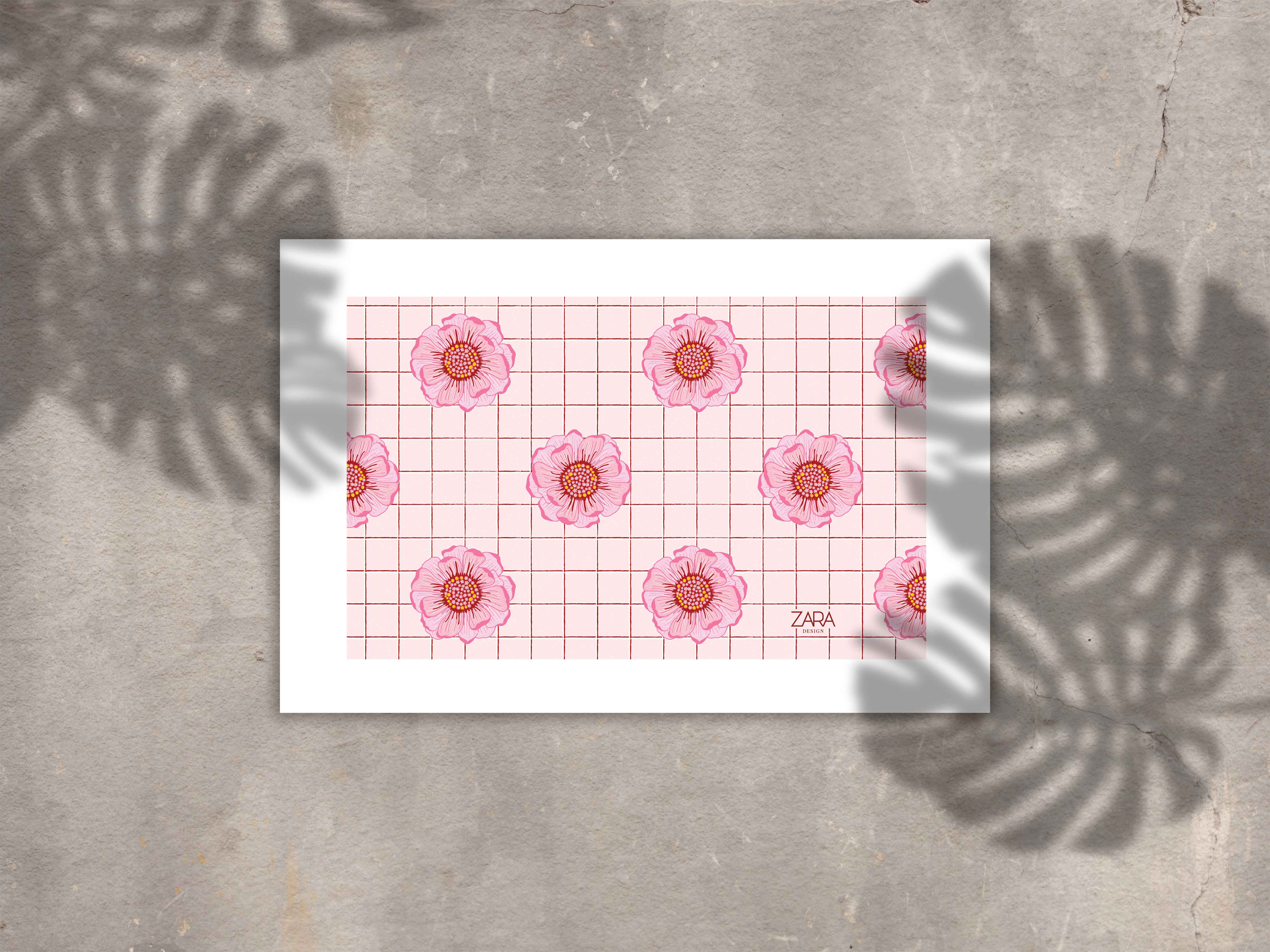 pink flower checkered MU