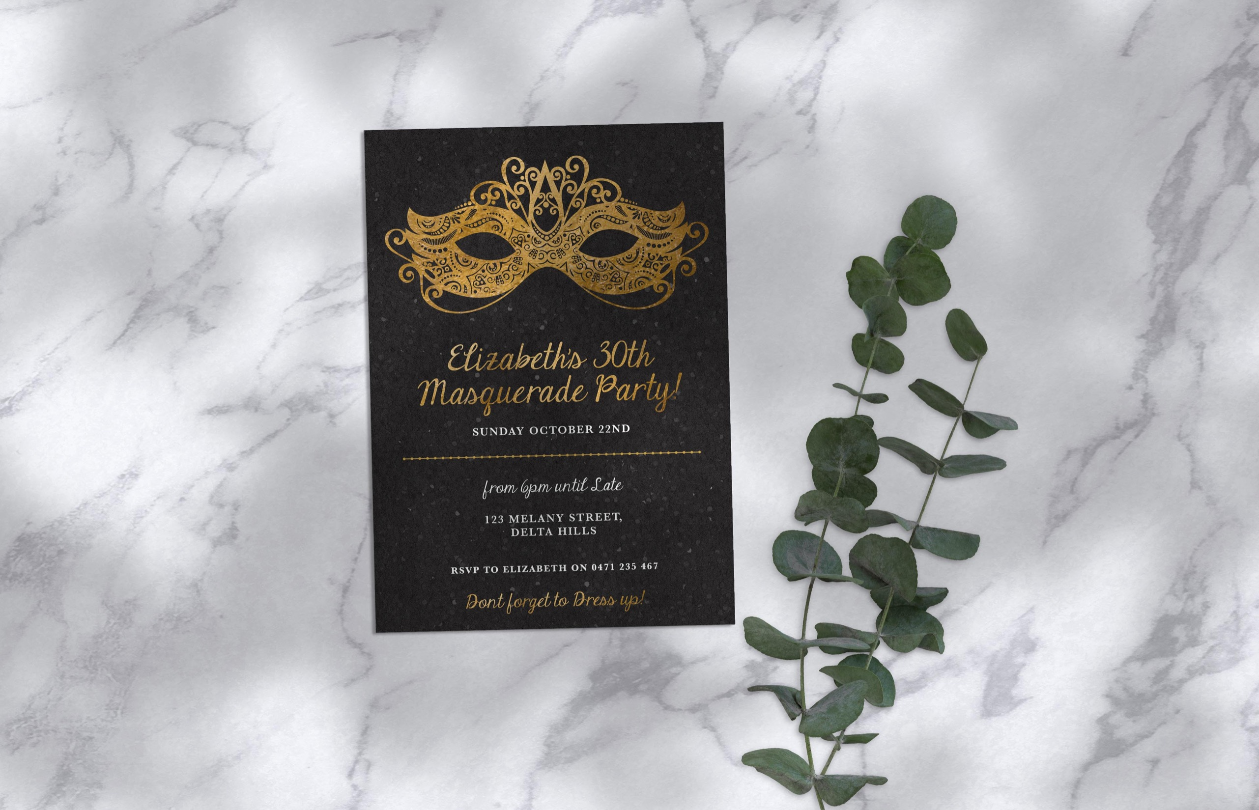 Masquerade Birthday Invitation
