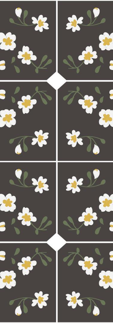 Dark Floral Tile Pattern