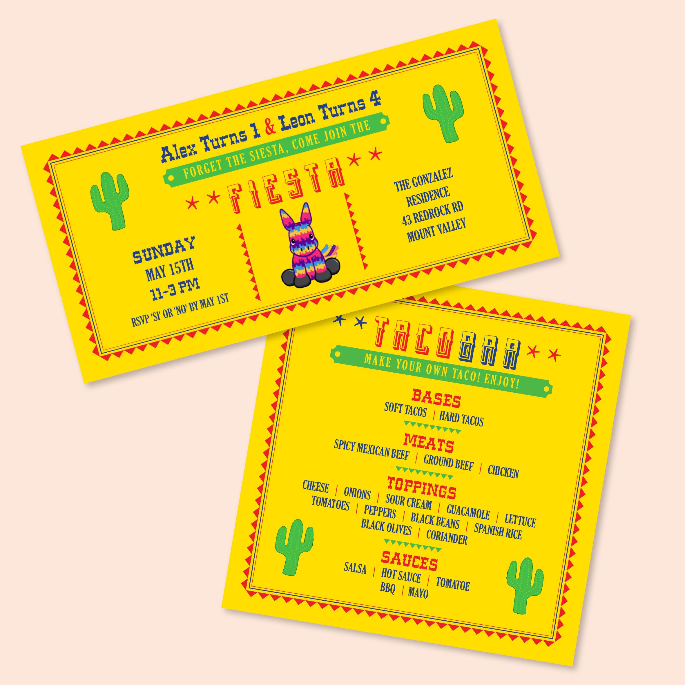 Fiesta Birthday Invitation and Menu