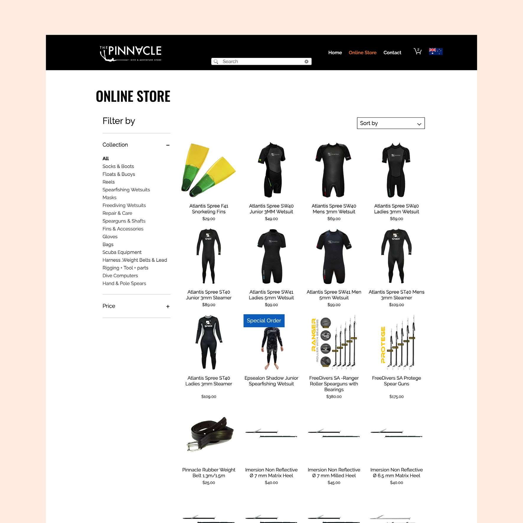 The Pinnacle Dive Online Store