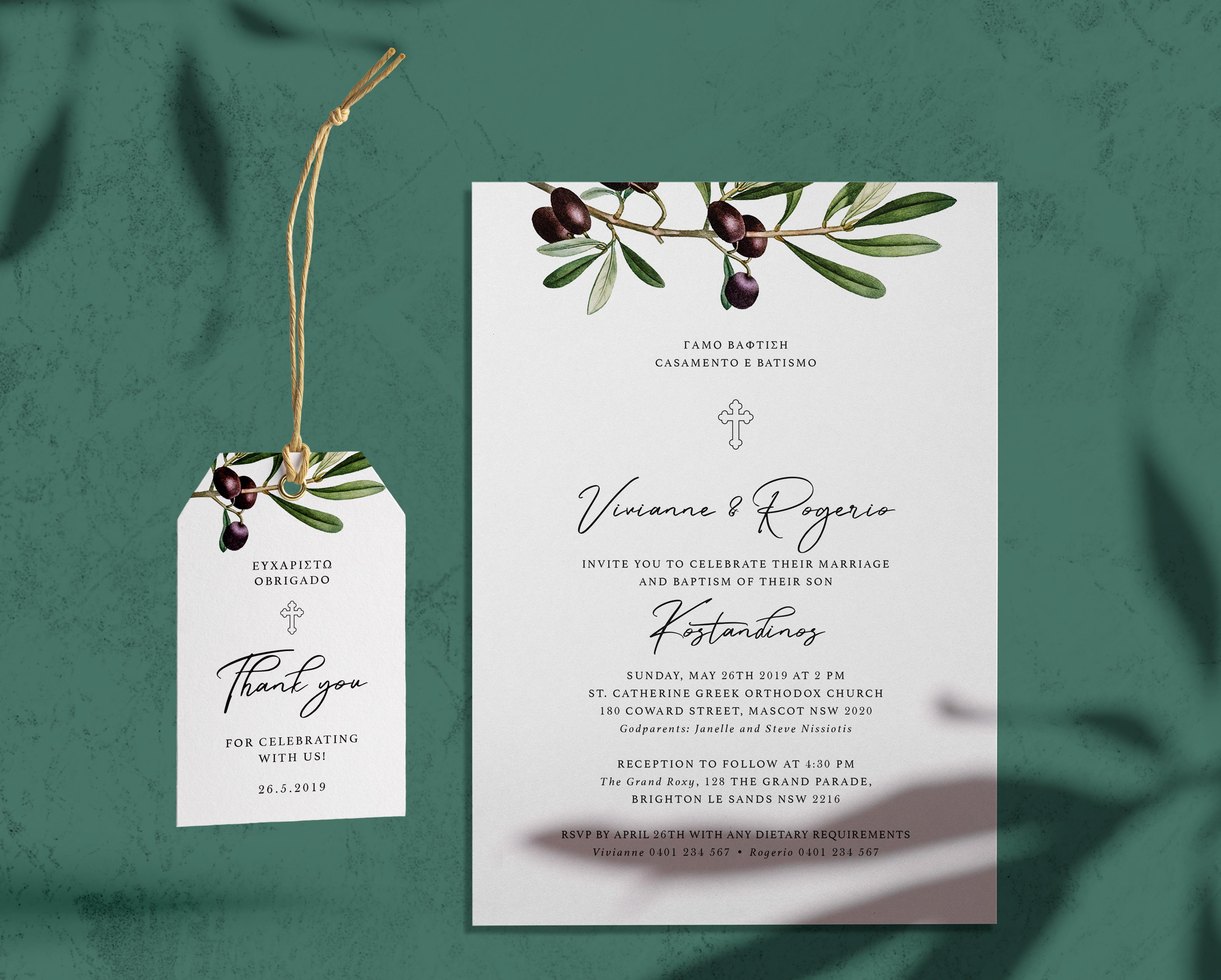 Olive leaf wedding invite and Tags