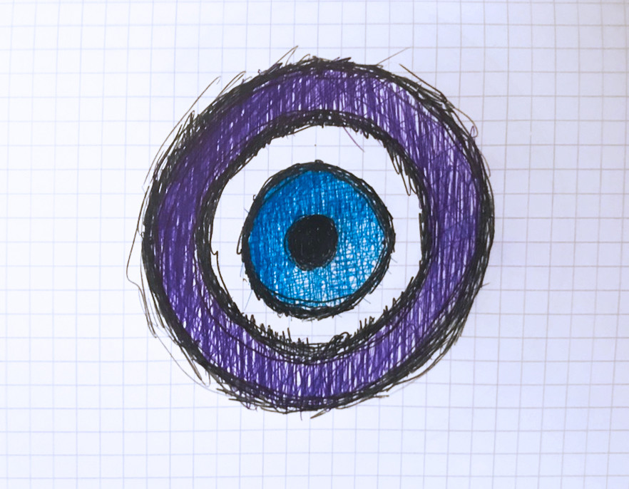 A nazar (from Arabic نظر /na.ðˁa.ra/, word deriving from Phoenician, meaning sight, surveillance, attention, and other related concepts) is an eye-shaped amulet believed to protect against the evil eye. - Wikipedia