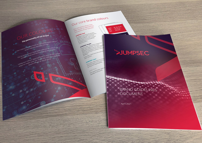 28 page JUMPSEC brand guidelines document.
