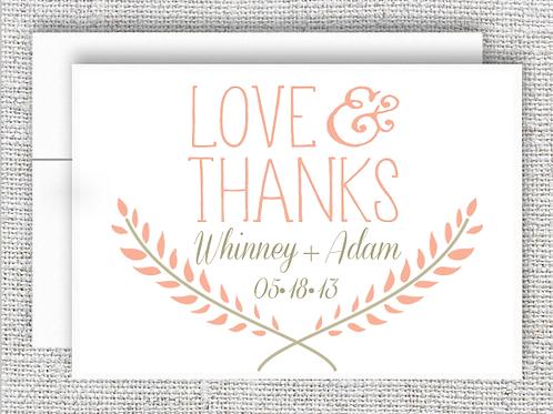 Love & Thanks  Wedding Thank You Card