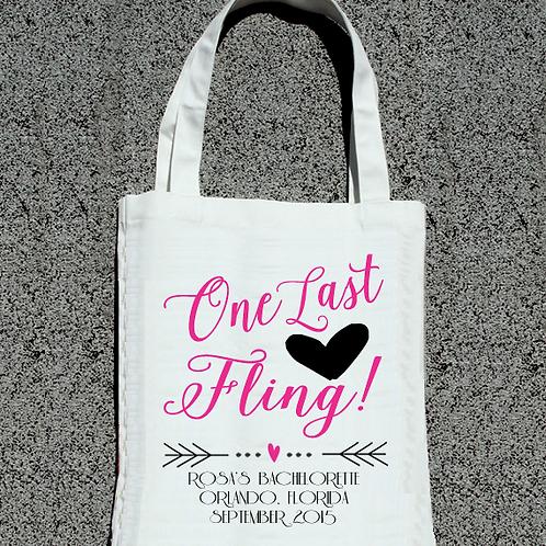 One Last Fling Bachelorette Tote Bag