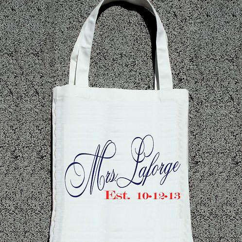 Estabelished Personalized Mrs Wedding Tote Bag