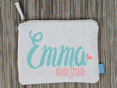 Personalized Bridal Party Funky Makeup Cosmetic Bag