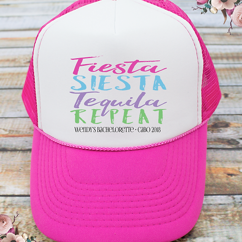 Fiesta Siesta Tequila Repeat Mexico Bachelorette Party Trucker Hat