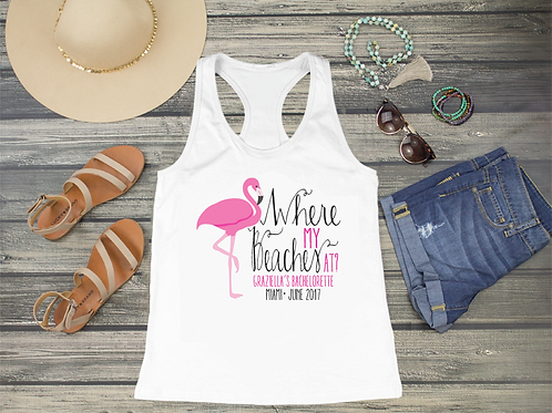 Where My Beaches At Flamingo Racerback Tank Top