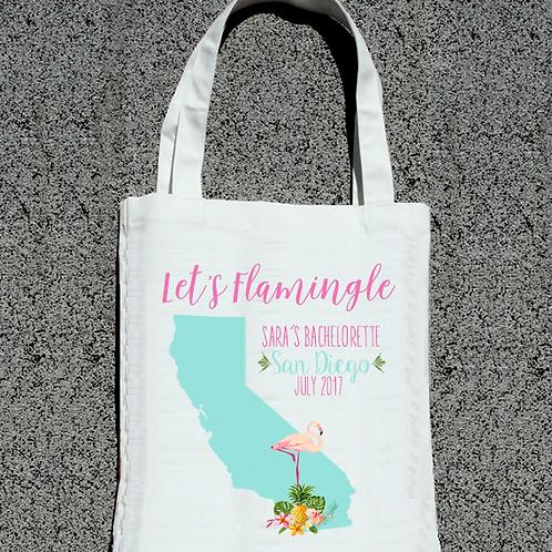 Let's Flamingle Destination Map Bachelorette Tote Bag