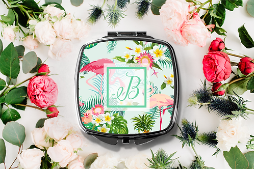 Flamingo Tropical Initial Compact Mirror -Bridesmaid Bridal Party Mirror