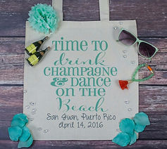 Time to drink champagne and dance on the beach tote bag