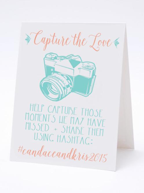 Capture the Love -Social Media Hashtag Table Card