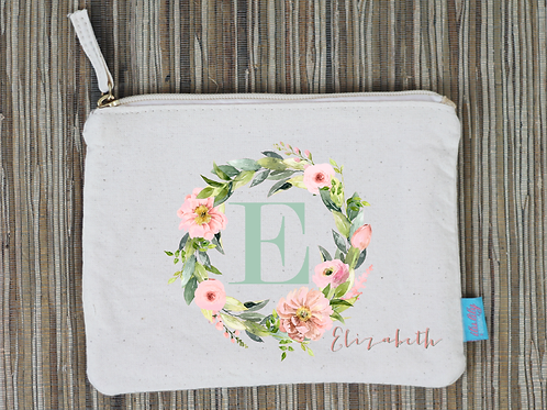 Floral Initial Personalized Bridal Party Wedding Makeup Cosmetic Bag