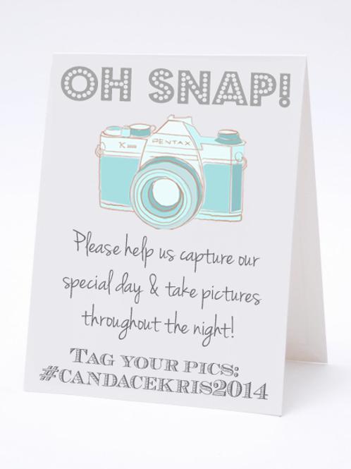 Oh Snap -Social Media Hashtag Table Card