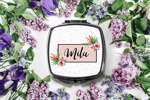 Tropical Personalized Compact Mirror -Bridesmaid Bridal Pa