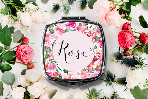 Floral Personalized Name Compact Mirror -Bridesmaid Bridal Pa