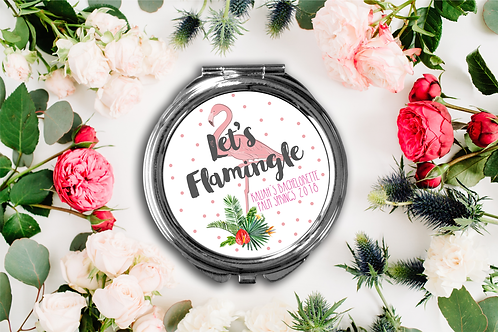 Lets Flamingle Bachelorette Party Compact Mirror -Bridesmaid Bridal Party Mirro
