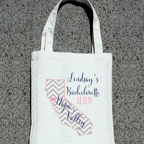 Chevron Map Bachelorette Personalized Tote Bag