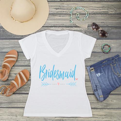 Bridesmaid V-Neck T-Shirt Fashion Tee