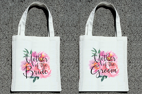 Floral Watercolor Mother of the Bride + Groom Tote Bag Set