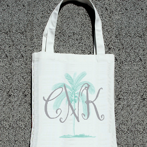 Monogram Palmetto Palm Tree Wedding Party Tote Bag