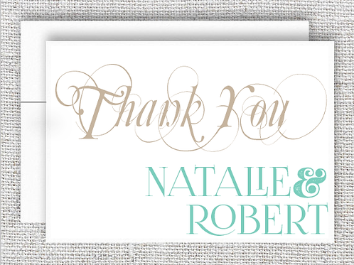 Fancy Personalized Wedding Thank You Card