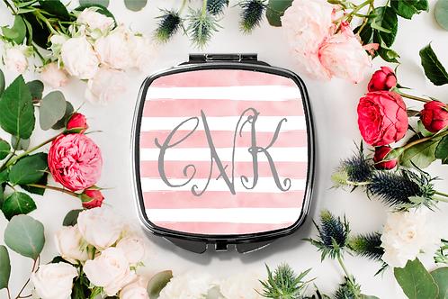 Fancy Monogram Stripe Compact Mirror -Bridesmaid Bridal Party Mirro