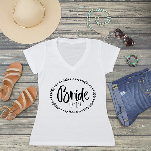 Bride Wreath Personalized V-Neck T-Shirt Fashion Tee