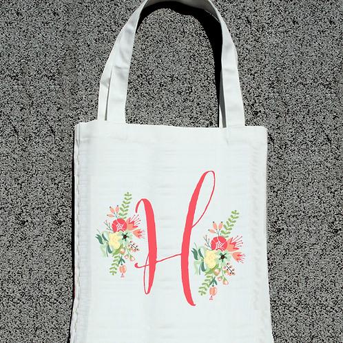 Floral Initial -Bridal Party Tote Bag