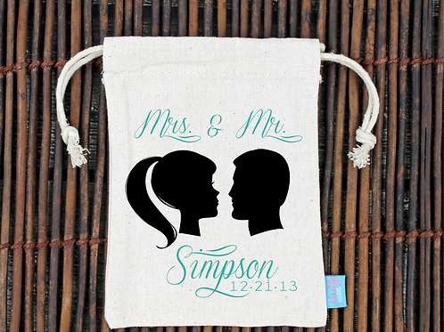 Silhouette Couple Personalized Wedding Welcome Favor Bag