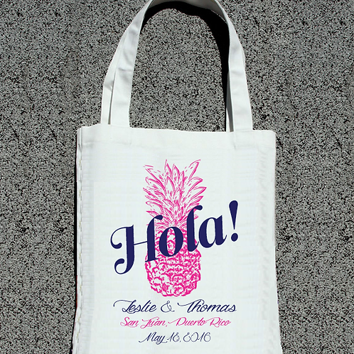 Hola Pineapple Destination Wedding Tote Bag