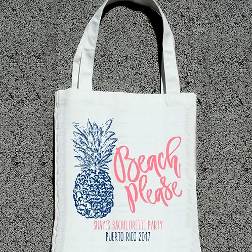 Beach Please Pineapple Beach Bachelorette Tote Bag