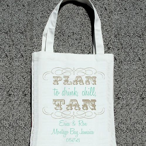 Plan to Tan Destination Wedding Tote Bag