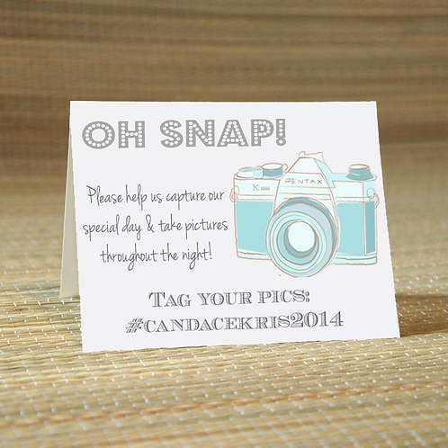 Oh Snap -Social Media Hashtag Place Card