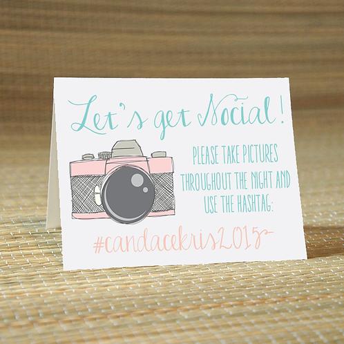Lets Get Social -Social Media Hashtag Place Card