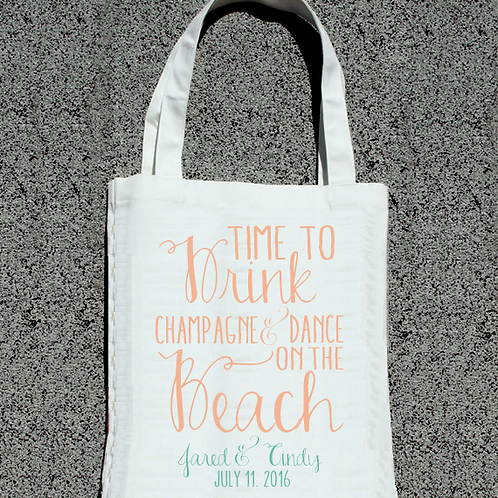 Fancy Time to Drink + Dance Beach Wedding Tote Bag