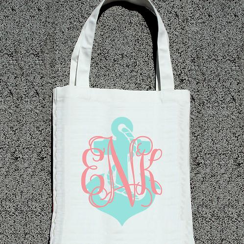 Anchor Monogram Wedding Party Tote Bag