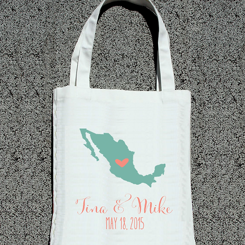Simple Destination Map - Wedding Welcome Tote Bag