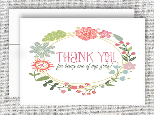 Thanks For Being My Girl Wedding Thank You Card