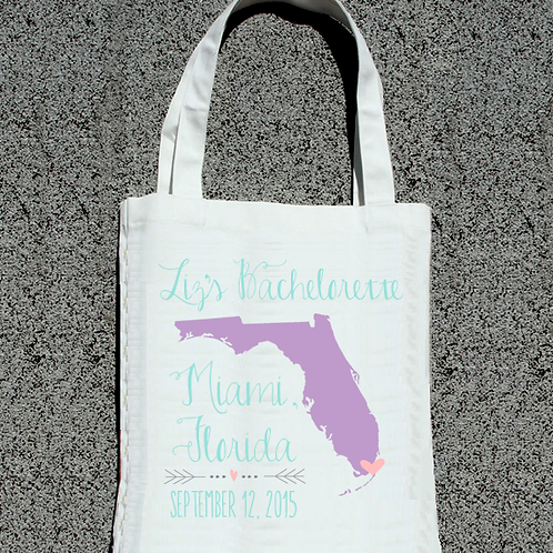 Bachelorette Party Custom Map -Personalized Tote