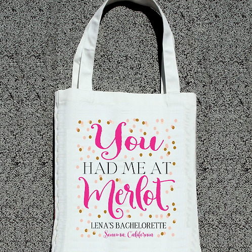 You Had Me At Merlot Confetti -Wine Country Vineyard Bachelorette Tote