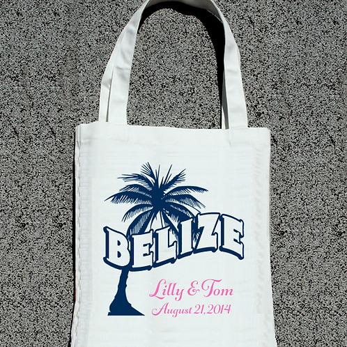 Retro Destination Palm Wedding Tote Bag