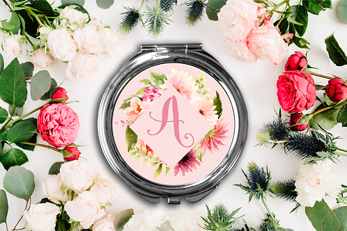 Fancy Floral Frame Initial Compact Mirror -Bridesmaid Bridal Part