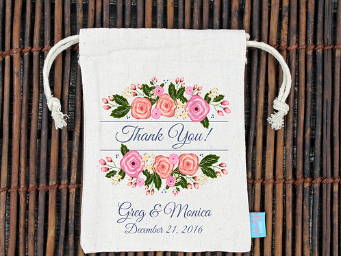 Floral Thank You Wedding Welcome Favor Bag