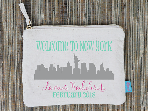 New York City NYC Bachelorette Favor Bridal Party Makeup Cosmetic Bag