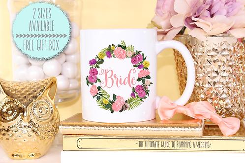 Floral Bride Wreath Wedding Engagement Mug